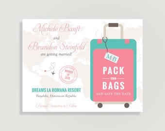 Destination Wedding Save the Date - Pack Your Bags - Magnet Available - DIY Printable or Printed - Destination Love #00100-STDA2-2