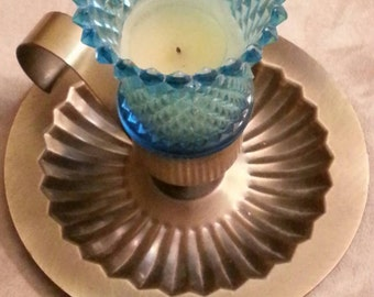 Diamond Cut Homco Blue Glass Candle Brass Holder