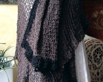 REDUCED! Large handknit shawl, linen-cotton - stole - jacket