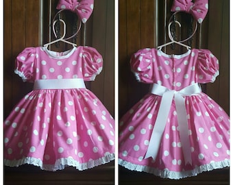 100% Cotton Red and White or Pink and White Polka Dot Minnie Mouse Dress with Petticoat and Matching Bow
