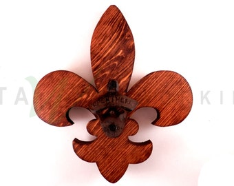 Fleur-de-lis Wood Cut-out Bottle Opener - Wall Mount - Handmade