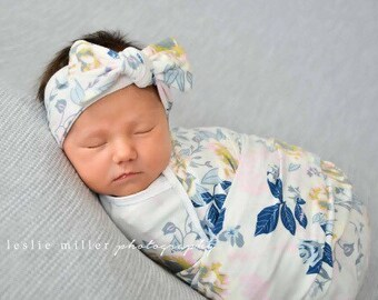 Baby swaddle set / baby girl swaddle / swaddle blanket / headband OR beanie / swaddle blanket / baby girl gift / baby gift / hospital outfit