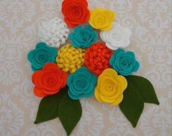 Handmade Wool Felt Flowers, Yellow, Aquamarine, Tangelo, and White