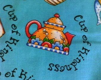 A Cup Of Kindness....fabric. blue. tea cup, tea pot designs