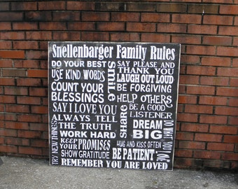 Family Rules Sign Painted on Wood Customize with your Family Name and House Rules, Housewarming gift, wedding gift, oversized family sign