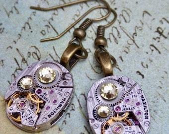 Citrine  - Steampunk Earrings - Hamilton Watch parts earrings - Repurposed - Recycled - Drop earrings