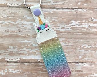 Lip Balm Holder, Unicorn Lip Balm Keychain, Unicorn Lip Balm Cozy, Rainbow Glitter Unicorn Chapstick Holder