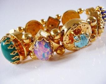 Victorian Revival slide style bracelet | Harrice Miller bracelet | multi stone faux turquoise lapis opal pearl jade | designer signed | rare