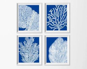 Royal Blue Coral Wall Art , Beach Art Printable , Blue and White Wall Art , Coastal Art Nursery , Large Beach Art , Nursery Nautical Art Sea