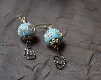 Copper and blue dangle earrings
