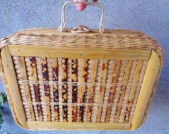 Bamboo bag,Wicker and bamboo bag ,Bambou bag vintage 60's, Wicker hanbag
