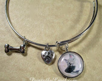 Keeshond Bangle, Keeshond Bracelet, Keeshond Jewelry, Keeshond Expand It, Keeshond Gifts, Keeshond Mom Gifts, Gifts with Keeshond