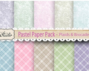 Pastel Plaid Scrapbook Paper Printable, Instant Download, Spring Digital Papers, Easter Scrapbook Supplies, Brocade paper, background paper