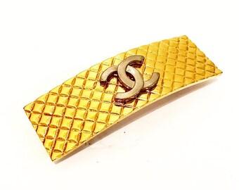 Authentic Vintage Chanel Gold Plated CC Hair Clip/Barrette