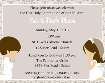 First Communion Invitation - Twins  (Digital File) / Twins First Communion Invitation / Cousins First Communion Invitation