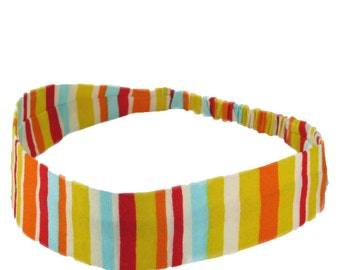 """Fabric Headband - Candy Stripe - with covered elastic -  Pick your size - sizes to fit toddlers to adults - 1-1/2"""" wide"""