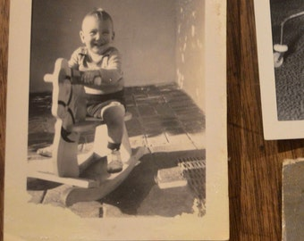 Lot of six vintage old antique black and white photographs pictures photos children babies rocking horse play seat