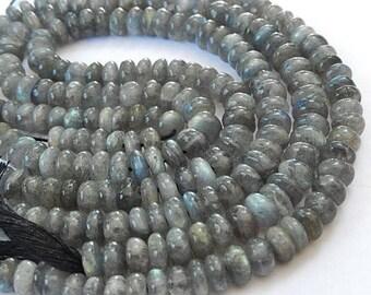 Labradorite Gemstone Bead. Semi Precious Gemstone. Smooth Rondelles, LARGE 7-8mm. Strand Your Choice. (51lab)