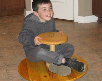 Wood Sit Spin and Grin Heavy Duty Lazy Susan Toy (Finished Stained Sealed and/or Painted)
