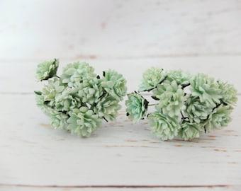 20 15mm mint green paper flowers - green flowers - mulberry paper flowers