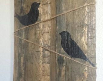 Birds on a line, pallet art.