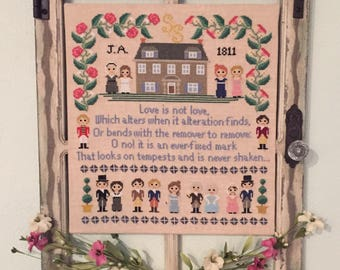 Sense and Sensibility Sampler- Jane Austen Novel Inspired PDF Cross Stitch Pattern: PDF Instant Download