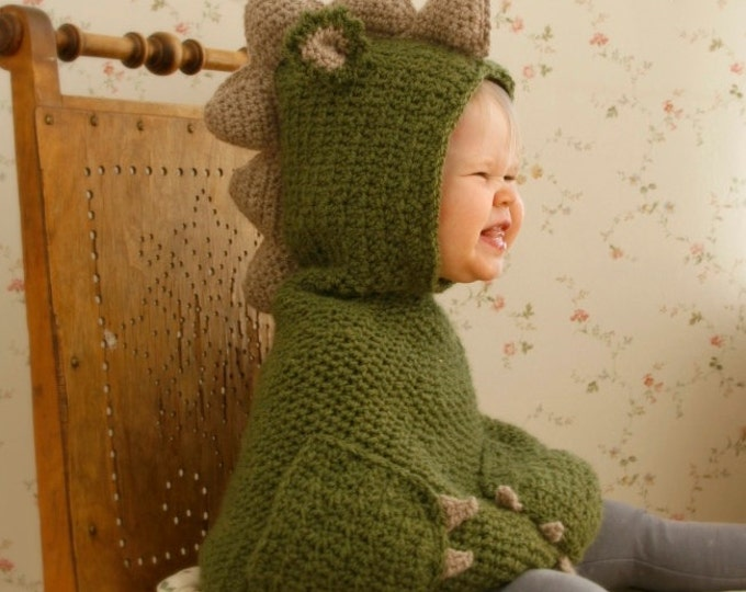 CROCHET PATTERN dragon dinosaur poncho Nikki with pockets and spikes (baby/toddler/child sizes)
