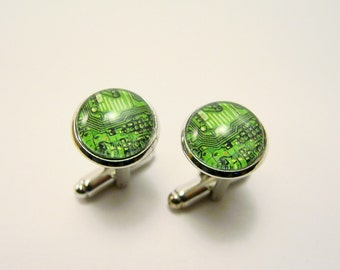 Green CIRCUIT BOARD Cuff Links -- Computer science cuff links for him and her, Electronics in techno green