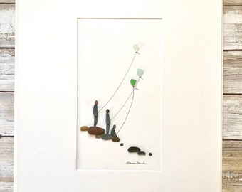 Fine Art with Pebbles and seaglass, three children flying kites, 12 by 16, Sharon Nowlan Original Art, framed or Unframed