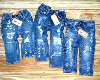 Distressed/Destroyed/Ripped Jeans for Toddlers Babies and Newborns Unisex