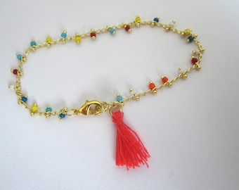 TASSEL AND BEADED CHAIN BRACELET