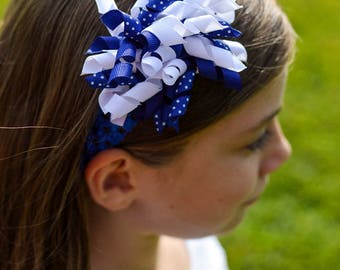 Royal Blue and White Korker Hair Clip