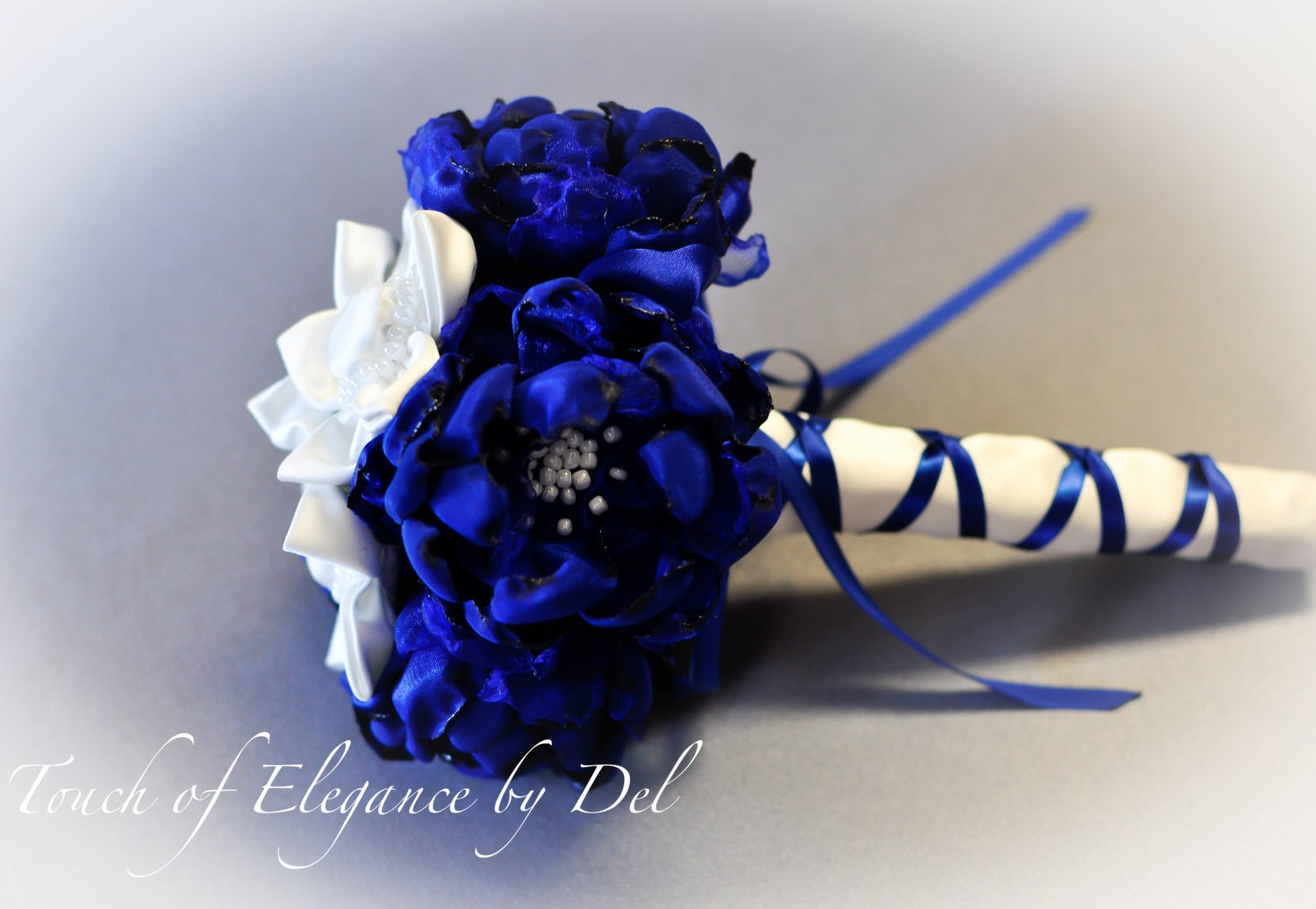 7 royal blue and white fabric flower wedding bouquet zoom izmirmasajfo
