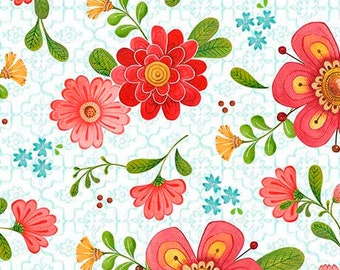 Quilting Treasures - All A Flutter - Floral - White - Fabric by the Yard 26359-Z