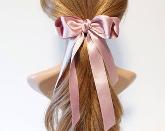 Handmade Satin Long Tail Bow French Hair Barrette Free Shipping Accessories