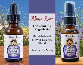 Clearing Negativity, Flower Essence Dropper or Spray for Spiritual Cleansing, Organic, Reiki-Infused, Unscented Smoke-free Smudge