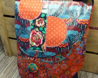 S389 red with multicolored flowers fabric bag and flap retro patterned oilcloth