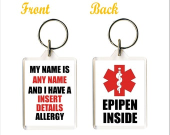 Personailsed Epipen Keyring - Add allergy and Name - School bag Childs Name Tag