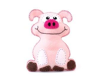 Pig Sewing Pattern, Felt Pig Sewing Pattern, Sew a Stuffed Animal Pig Pattern, Instant Download PDF, Pig Plushie, Pig Softie, Pig Stuffy