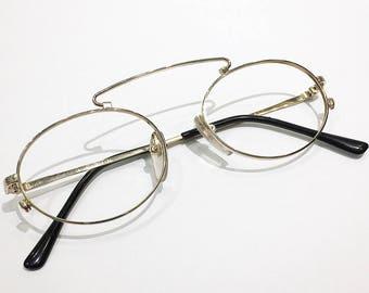 Vintage 1990's Celine Perceval Round Gold Eyeglasses