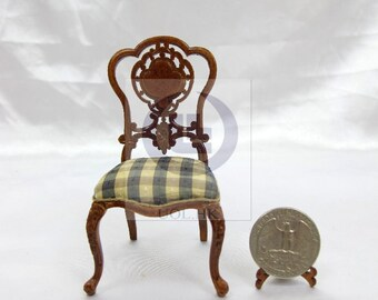 "Miniature 1""Scale  Extraordinary Side Chair For Dollhouse [Finished in walnut]"