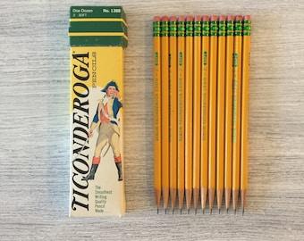 Drawing Pencils Ticonderoga Writing Pencils One Dozen Vintage Pencils Office Supplies Art