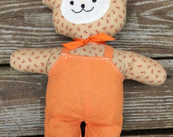 Vintage stuffed bear, stuffed friend, handmade, calico, smiling bear, overalls