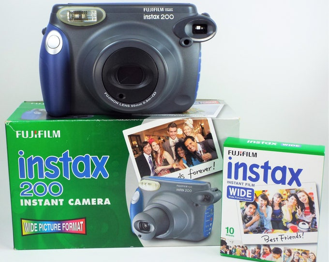Mint New in Box Fujifilm Instax 200 Wide Format Instant Film Camera - Fully Tested, 100% Working - Includes Instax Film & New Batteries!