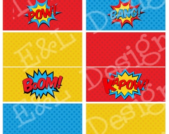 Superhero Treat Bag Toppers, Superhero Party, Instant Download, Printable