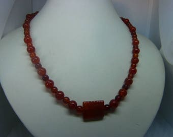 Genuine CARNELIAN gemstone necklace