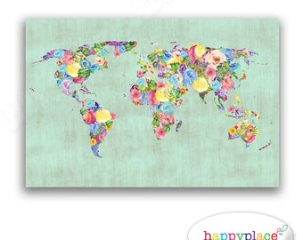 Vintage style watercolour floral theme world map poster mint green vintage style watercolor flower world map print printable high resolution image 11x14in gumiabroncs