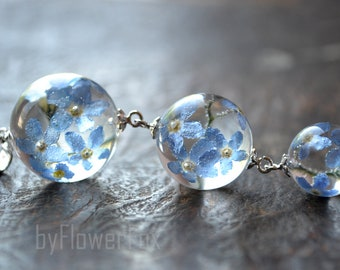 Forget me not necklace long Forget me not jewelry Flower resin jewelry Real flower pendant Terrarium jewelry Terrarium necklace