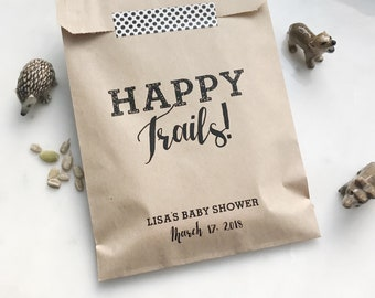 Wedding Favor Bags - Happy Trails! - Trail Mix Favor Bags - Custom Printed on Kraft Brown Paper Bags