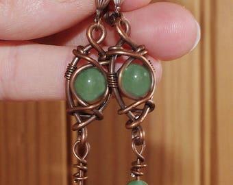 Copper earrings with green jade